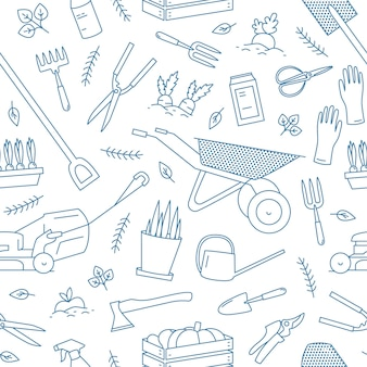 Monochrome seamless pattern with gardening tools or equipment for plant cultivation drawn with contour lines