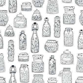 Monochrome seamless pattern with homemade preserves in glass jars and bottles hand drawn with black contour lines on white