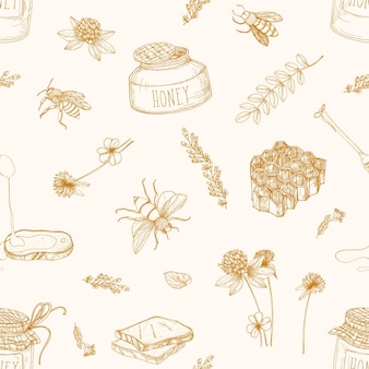 Monochrome seamless pattern with honey, bees, dipper, bread, honeycomb, clover, linden and acacia plants