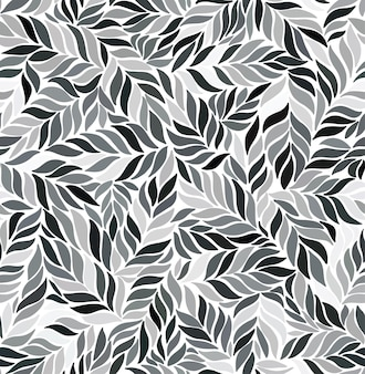 Monochrome seamless pattern with leaves.