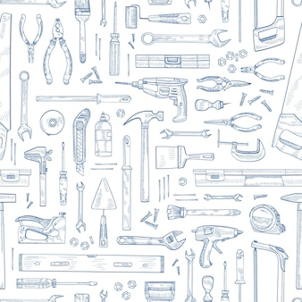Monochrome seamless pattern with manual and powered household tools for woodworking