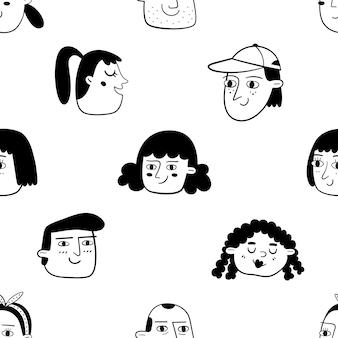 사람들이 얼굴을 가진 흑백 원활한 패턴