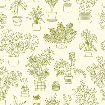 Monochrome seamless pattern with plants growing in planters drawn with contour lines on light background.