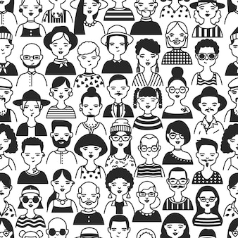 Monochrome seamless pattern with portraits of old and young people