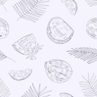 Monochrome seamless pattern with ripe fresh cracked coconuts, flowers and palm tree leaves hand drawn with contour lines on light background