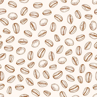 Monochrome seamless pattern with roasted coffee seeds or beans hand drawn with contour lines on light background. realistic natural illustration in retro style for fabric print, wrapping paper.