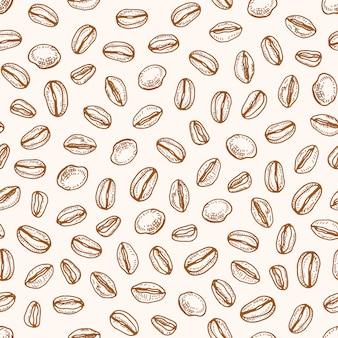 볶은 커피 씨앗 또는 콩 손으로 밝은 배경에 등고선으로 그린 흑백 완벽 한 패턴입니다. 패브릭 인쇄, 포장지에 대 한 복고 스타일의 현실적인 자연 그림.