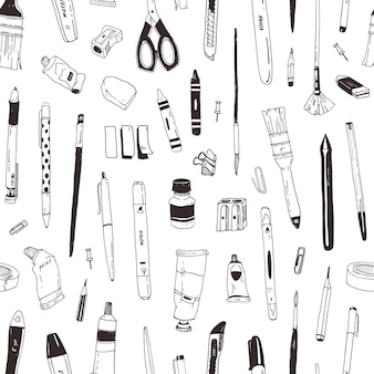 Monochrome seamless pattern with stationery, drawing items, creativity products or office supplies hand drawn with black contour lines on white background. elegant realistic vector illustration.
