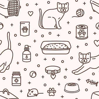 明るい背景に等高線で描かれた猫の世話や娯楽のためのツールや製品を備えたモノクロのシームレスパターン。ファブリックプリント、壁紙の線形スタイルのベクトルイラスト。