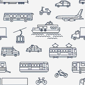 Monochrome seamless pattern with transport of different types on white background.