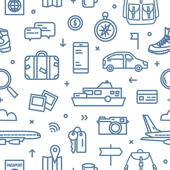 Monochrome seamless pattern with transports, tourism and adventure travel attributes drawn with blue contour lines