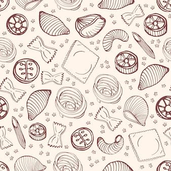 Монохромный бесшовные модели с различными типами сырой пасты, рисованной с контурными линиями на светлом фоне - фарфалле, ракушечное мясо, ротини, ротелли, равиоли. иллюстрация для текстильной печати.