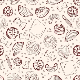 Monochrome seamless pattern with various types of raw pasta hand drawn with contour lines on light background - farfalle, conchiglie, rotini, rotelli, ravioli. illustration for textile print.