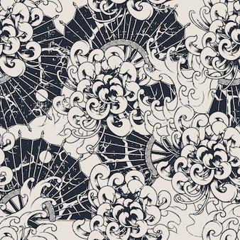 국화와 흑백 원활한 벡터 패턴입니다. 모든 색상은 별도의 그룹에 있습니다. 직물 및 장식에 인쇄하는 데 이상적입니다. 벡터