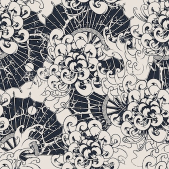 Monochrome seamless vector pattern with chrysanthemums. all colors are in a separate group. ideal for printing onto fabric and decoration. vector Premium Vector