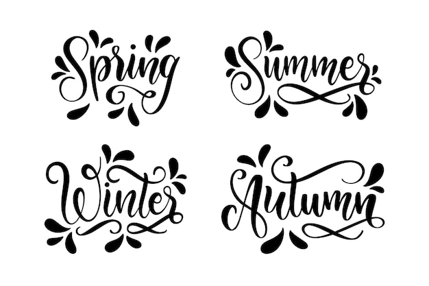 Monochrome seasons lettering collection