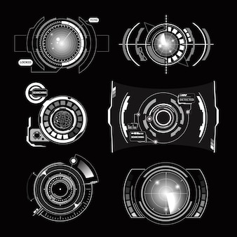 Monochrome set of different variants of radar and elements of control panel