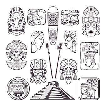 モノクロームセットのマヤ文化のシンボル。部族マスクとトーテム