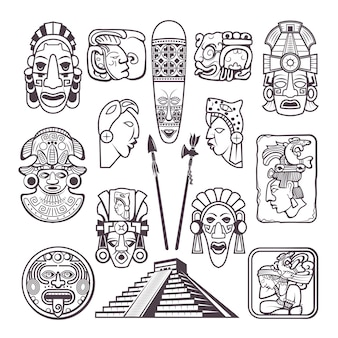 Monochrome  set  mayan culture symbols. tribal masks and totems