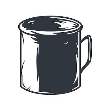 キャンプや荒野での旅行のためのモノクロシルエットのブリキのマグカップ