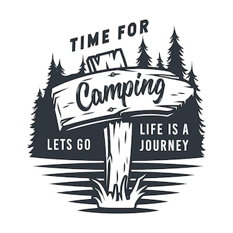 Monochrome silhouette wooden sign pointer with inscription for camping