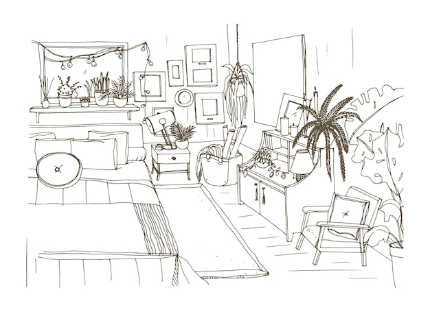Monochrome sketch of comfortable bedroom furnished in scandinavian style