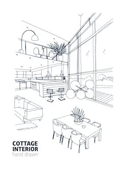 Monochrome sketch of modern country house interior full of trendy furniture