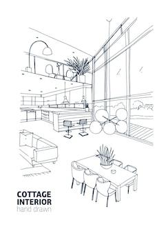 トレンディな家具でいっぱいのモダンなカントリーハウスのインテリアのモノクロスケッチ