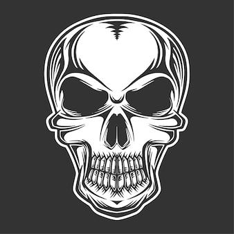 Monochrome skull  illustration, retro style drawing. isolated on black background.