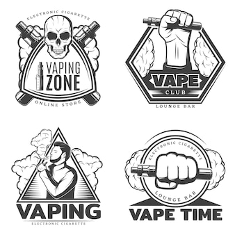 Monochrome smoke logo set