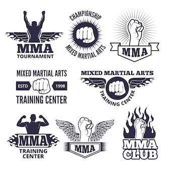 Monochrome sport labels for mma fighters