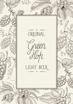 Monochrome square frame composition with words about original green hop light lager in the center of card hand drawn sketch
