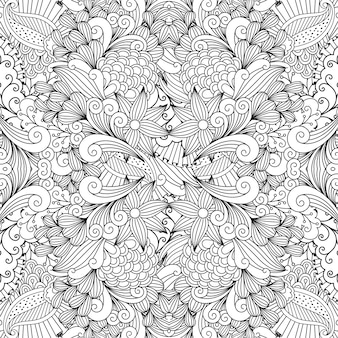 Monochrome summer sketching fabric pattern