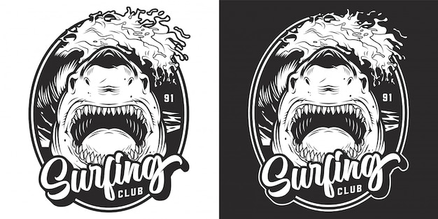 Monochrome summer surfing club label