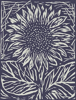 Monochrome sunflower engrave cartoon style illustration