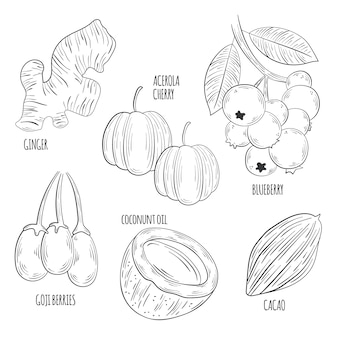 Concetto di raccolta monocromatica superfood