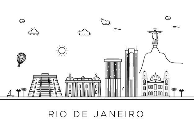 Monochrome theme for outline landmarks skyline