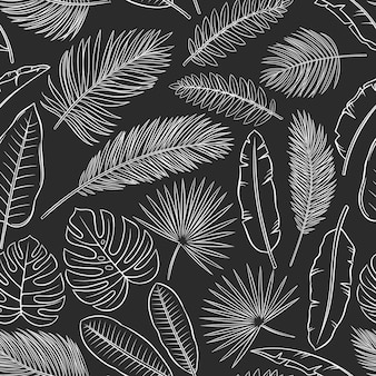 Monochrome tropical leaves seamless pattern, white on black. jungle banana leaf, palm and fern. summertime design for wrapping paper and fabrics. vector outline sketch illustration.