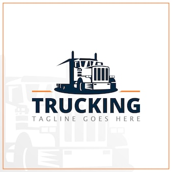 Monochrome truck logo for delivery company