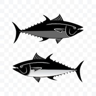 Монохромный тунец набор векторные иллюстрации на прозрачном фоне.