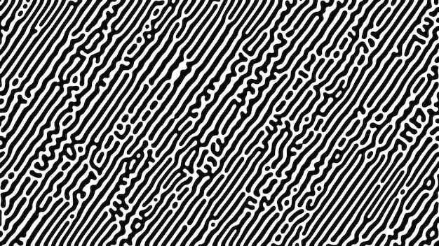 モノクロチューリング反応の背景。混沌とした形の抽象的な拡散パターン。ベクトルイラスト。