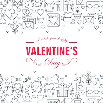 Monochrome valentines day decorative card with many love elements such as gift, arrows, heart, envelope illustration