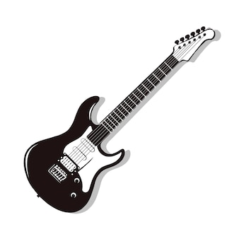 Monochrome vector electric guitar. rock guitar isolated on white