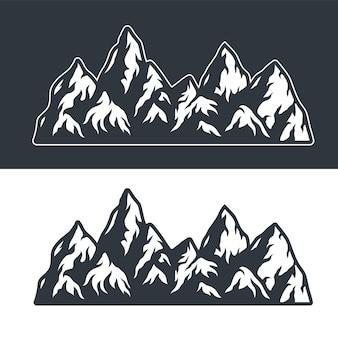 어둡고 밝은 배경에 산과 바위의 흑백 벡터 세트