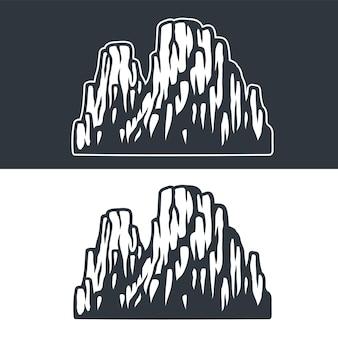 暗い背景と明るい背景の山と岩のモノクロベクトルセット