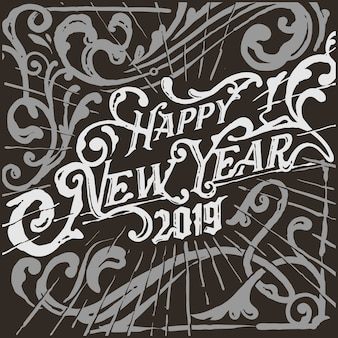 Monochrome  victorian vintage happy new year greetings