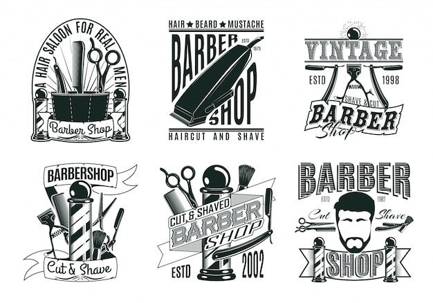 Monochrome vintage barber shop logos set