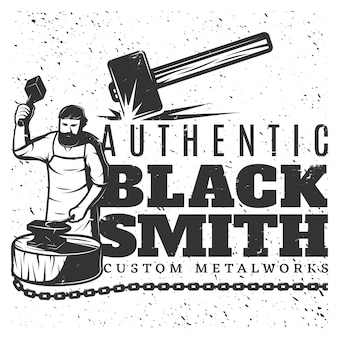 Monochrome vintage blacksmith template