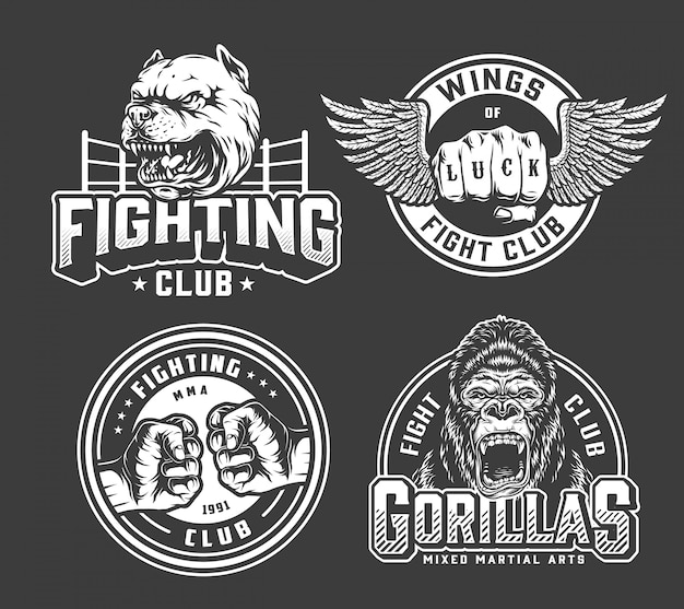 Monochrome vintage fighting badges