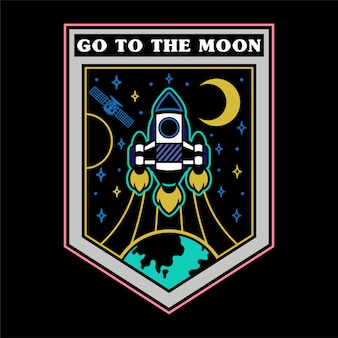 Monochrome vintage graphic sticker patch pin print for clothes t shirt poster with very fast rocket which fly up from earth for open space stars moon mars.